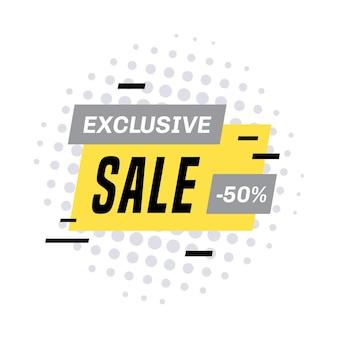Werbebanner-vorlagendesign für den verkauf. exklusiver verkauf 50 prozent rabatt