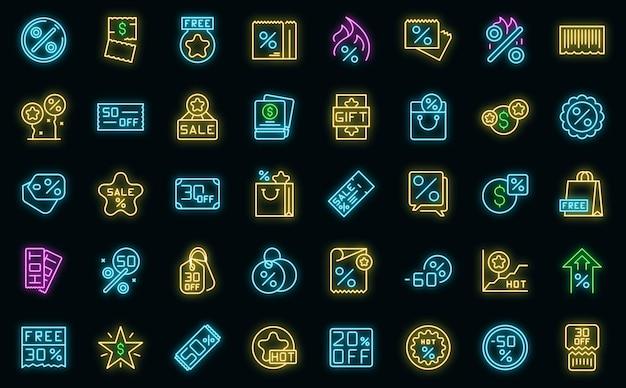Werbecode-symbole setzen umrissvektor. gutschein rabatt. prozentpreis