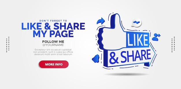 Werbedesigns für like and share-beiträge in sozialen medien.