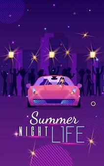 Werbeflyer ist geschriebenes sommer-nachtleben