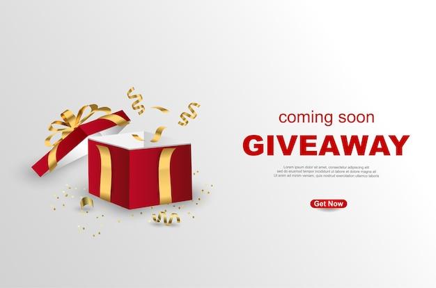 Werbegeschenk-banner-schablonendesign mit offener geschenkbox auf weißem hintergrund