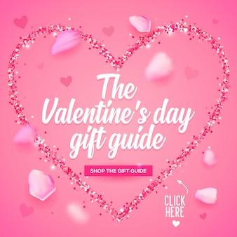 Werbegrafikdekoration für feiertagsliebetag. posterdesign für e-mail-kampagnen zum valentinstag.