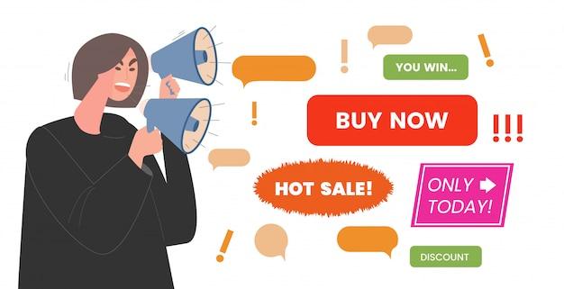 Werbelärm flache illustration. junge frau mit lautsprechern schreit nach sonderangeboten, rabatten und verkäufen. mädchen, das im megaphon spricht, um marketinginformationen zu erzählen.