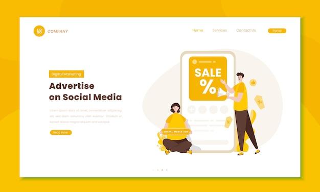 Werben sie auf social-media-illustrationen auf dem landingpage-konzept