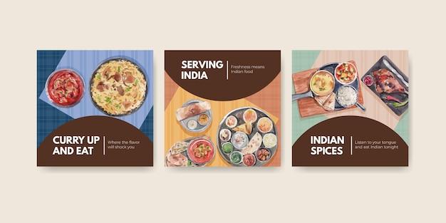 Werben sie schablonensatz mit indischem essen
