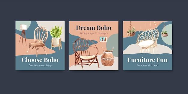 Werben sie vorlage mit boho-möbel-konzeptentwurf für marketing-aquarellillustration