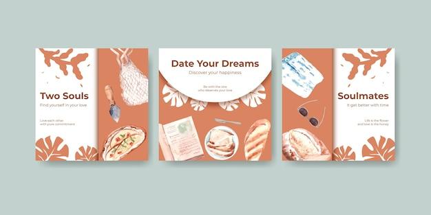 Werben sie vorlage mit europäischem picknick-konzeptentwurf für marketing-aquarellillustration.