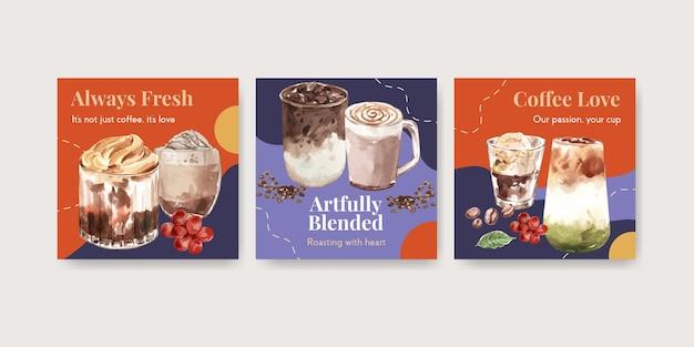 Werben sie vorlage mit koreanischem kaffeestilkonzept für geschäfts- und marketingaquarell