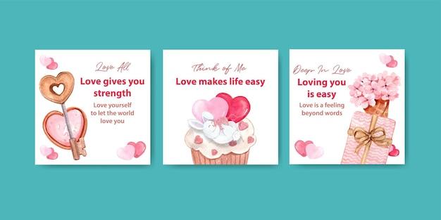 Werben sie vorlage mit liebevollem konzeptentwurf für marketing- und geschäftsaquarellillustration