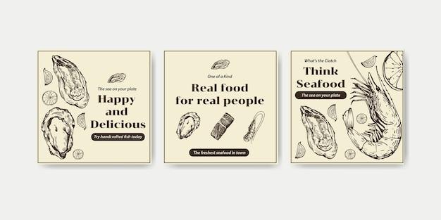 Werben sie vorlage mit meeresfrüchte-konzeptentwurf für marketing-illustration