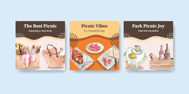 Werben sie vorlage mit picknick-reisekonzept für marketing-aquarellillustration