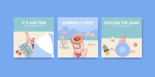 Werben sie vorlage mit strandurlaubskonzeptentwurf für marketing-aquarellillustration