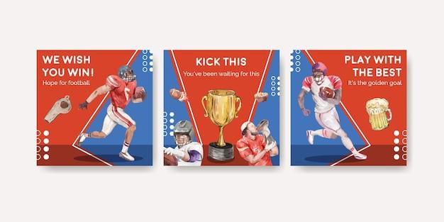 Werben sie vorlage mit super bowl sport-konzeptdesign für marketing-aquarell-vektorillustration.