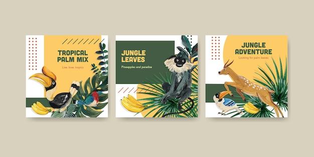 Werben sie vorlage mit tropischem zeitgenössischem konzeptentwurf für die vermarktung der aquarellillustration