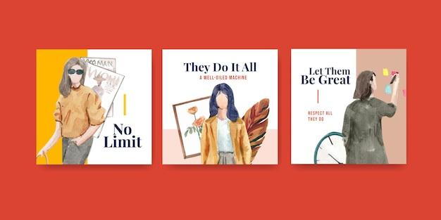Werben sie vorlage mit weltwassertag-konzeptentwurf für geschäfts- und marketingaquarellillustration