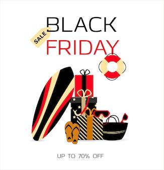 Werbeplakat für black friday ein geschäft, das produkte für das strandsurfen und tauchen verkauft