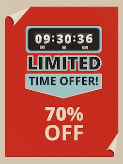 Werbeplakat mit countdown-uhr und text über verkäufe.