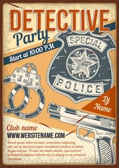 Werbeplakatdesign mit illustration der handschellen des detektivs