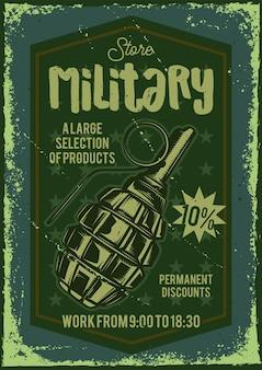Werbeplakatdesign mit illustration einer bombe auf hintergrund.