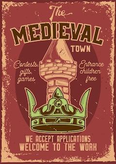 Werbeplakatdesign mit illustration einer krone mit einem turm auf hintergrund.