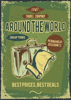 Werbeplakatdesign mit illustration eines anzugs mit einem stück papier