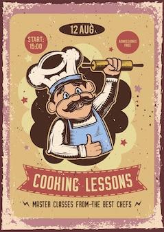 Werbeplakatdesign mit illustration eines bäckers mit einem nudelholz