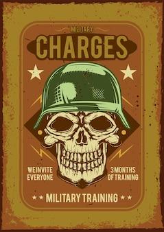 Werbeplakatdesign mit illustration eines soldaten auf staubigem hintergrund.