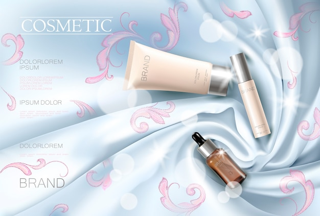 Werbeschablone des silk kosmetischen anzeigengesichtsfrauen-make-up der stickerei