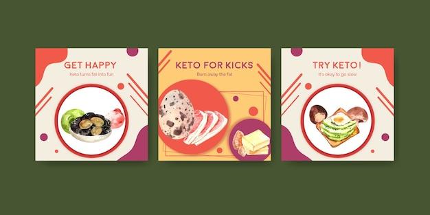 Werbeschablone mit ketogenem diätkonzept für marketing- und anzeigenaquarellillustration.