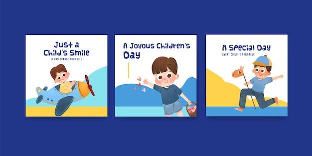 Werbeschablone mit kinderentwurfskonzeptentwurf