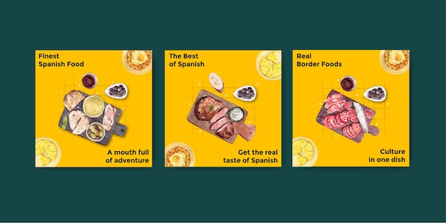 Werbeschablone mit konzeptentwurf der spanischen küche für die vermarktung der aquarellillustration
