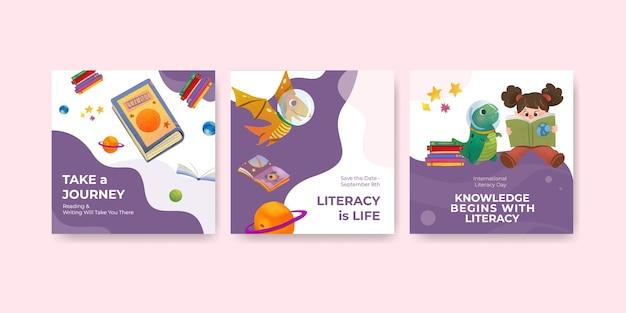 Werbeschablone mit konzeptentwurf des internationalen alphabetisierungstags für geschäftsmarketing-aquarellvektor.