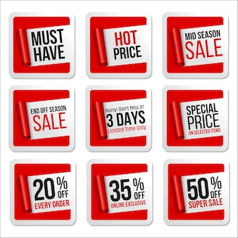 Werbeverkauf aufkleber sammlung scroll paper