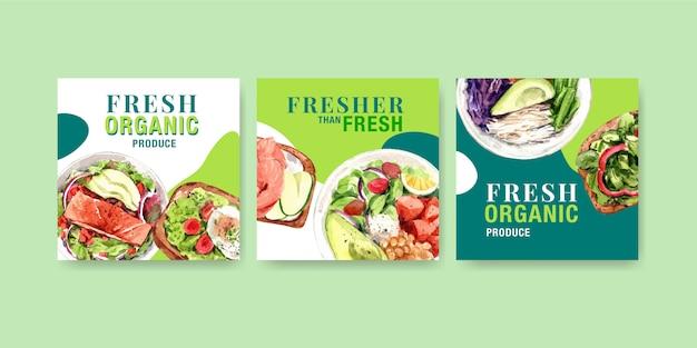 Werbevorlage mit gesundem und bio-lebensmittel-design
