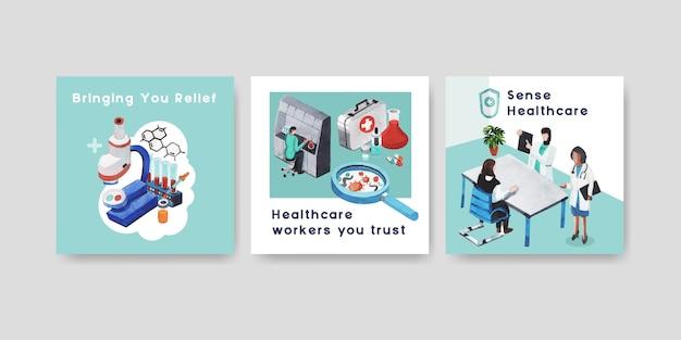 Werbevorlage mit gesundheitswesen und krankenhaus