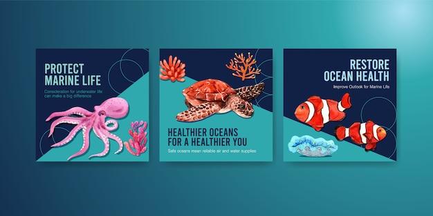 Werbevorlage zum umweltschutzkonzept des weltmeertags mit tintenfisch, schildkröte, koralle und nemo.