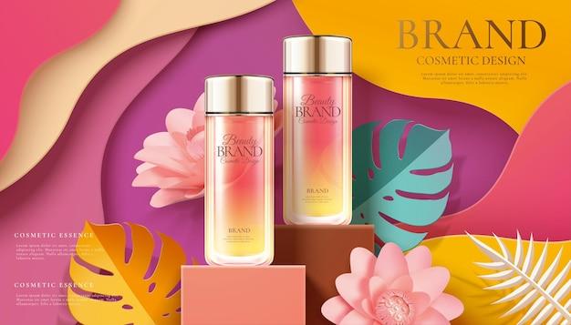 Werbung für kosmetische glasflaschen