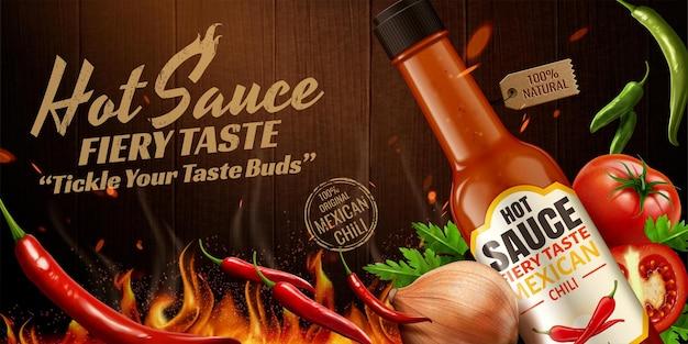 Werbung für scharfe soße mit chili und brennendem feuereffekt auf holzplatte in 3d-darstellung
