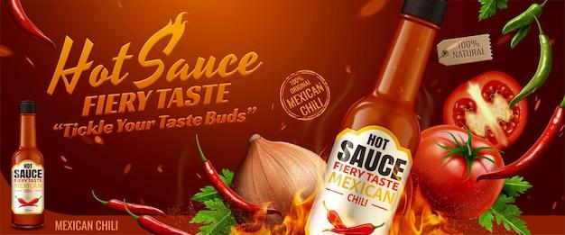 Werbung für scharfe soße mit chili und brennendem feuereffekt in 3d-darstellung