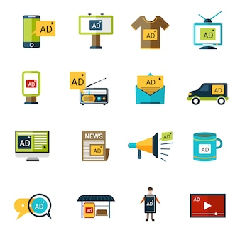 Werbung icons set