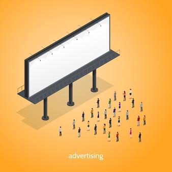 Werbung isometrisches konzept