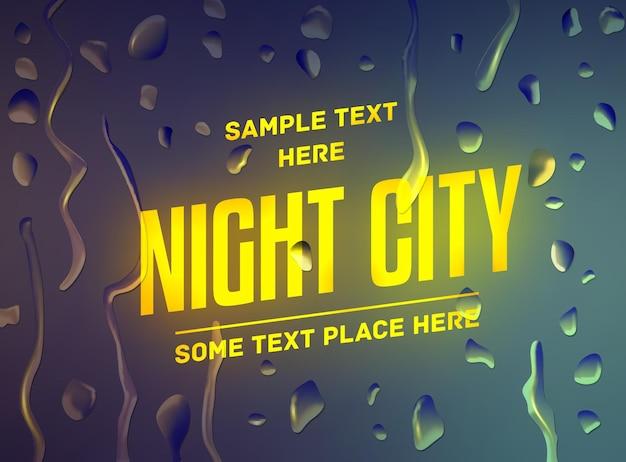 Werbung über den city-night-event-verkauf auf defokussiertem hintergrund mit wassertropfen. vektor-illustration