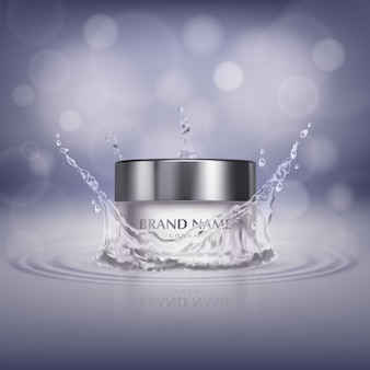 Werbungsfahne mit realistischem Glasgefäß im Wasserspritzen, Flasche kosmetische Creme
