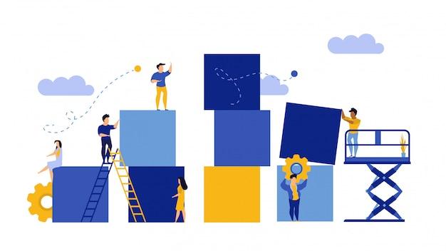 Werbungspuzzlespiel von der flachen illustration des würfelblocks.