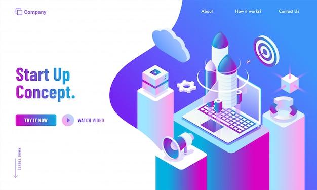 Werbungswebsite-zielseitendesign, illustration 3d der rakete mit laptop-, wolken- und infographicsdiagrammen auf geschäftsarbeitsplatz für beginnen oben konzept.