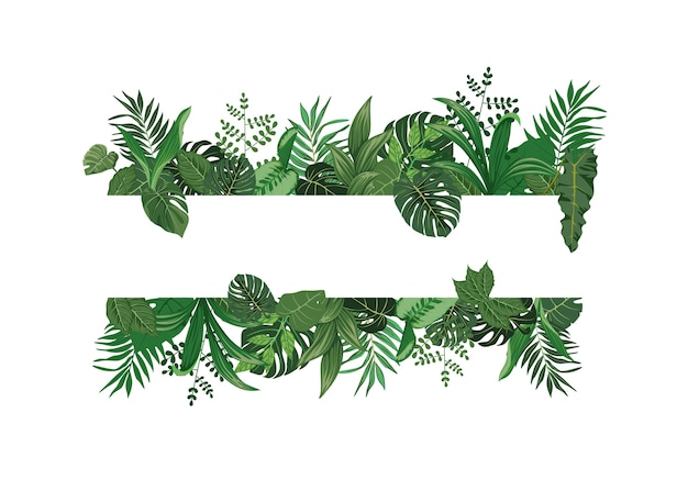 Werden sie kreativ mit tropischen blättern flache design-vektoren, die hintergründe für romantische zitate und typografie des süßen geistes schmücken.