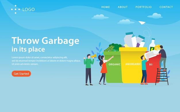 Werfen sie abfall an ort und stelle, die websiteschablone, überlagert, einfach zu redigieren und besonders anzufertigen, illustrationskonzept