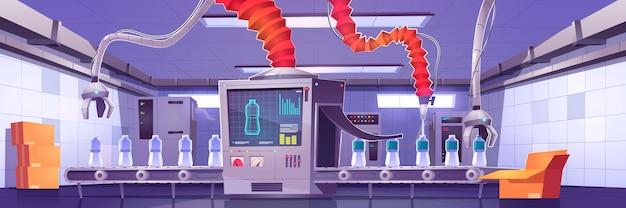 Werksförderband mit wasserflaschen und roboter
