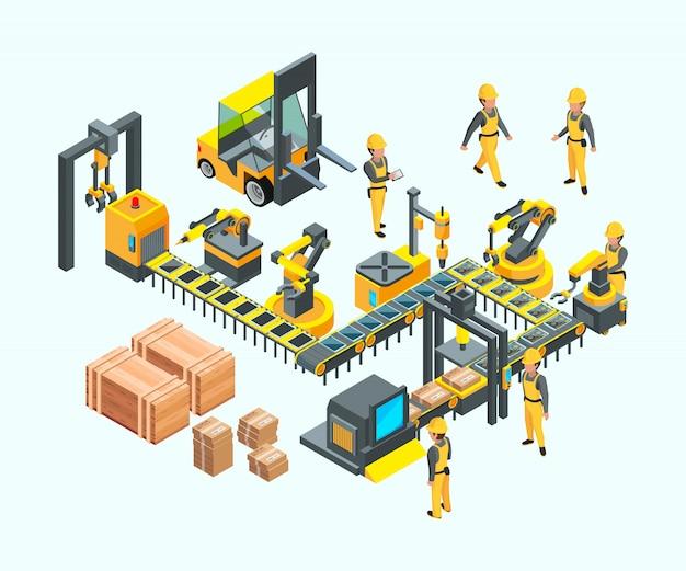 Werksisometrisch. industriemaschinenproduktion elektroniktechnologie herstellungskonzept der fabrik