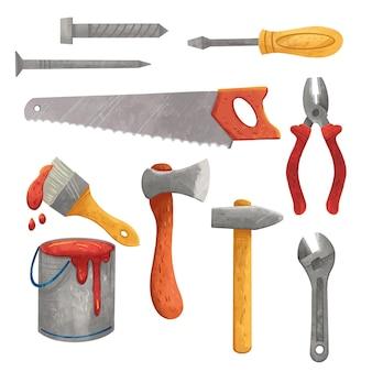 Werktagsillustration, werkzeuge, schraubendreher, säge, schraubenschlüssel, axt, hammer, farbe oder lack, pinsel, zange, selbstschneidende schraube